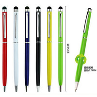 Wholesale Capacitive Stylus Fine - 20pcs lot Fine Point Stylus Capacitive Touch Microfiber Stylus Pen Touch Ball Point Pen Office School Home Supplies Gifts Stationery