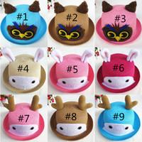 Wholesale Straw Owls - Free DHL Cute Owl Deer Rabbit Cartoon Straw Hat Bucket Hats Sun Hat Children Animal Shaped Hat Beach Accessories K14E
