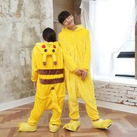 Wholesale Cheap Japanese Cosplay - New Hot Sale Yellow Pikachu Dress Lovely Cheap Pajamas Anime Cosplay Costume Unisex Adult Sleepwear Woman Coat