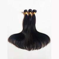 brazilian bakire indian saç toptan satış-Çıkış Ipeksi Düz Işlenmemiş Vizon Brezilya Virgin İnsan Saç Seksi Perulu Malezya Hint remy Saç Doğal Renk ve Siyah # 1 # 1b