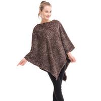 Wholesale Plain Turtleneck - Fashion Plus Size Women's Polyester Plaid Cardigan Turtleneck Cape Batwing Sleeve Knit Poncho Sweater Female Stripes Scarf
