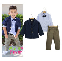 Wholesale 3pcs Boy Shirt Pant Jacket - 2016 Autumn Handsome Boy Outfits Set 3pcs Jacket + Bowtie Shirt + Pants Gentleman Suit Outfit Children Outdoor Set K7498