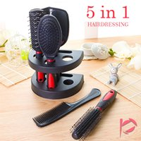 Wholesale Red Hairbrush - 5pcs set Professional Hair Salon Hair Comb And Mirror Kits Salon Barber Comb Brushes Anti-static Hairbrush Hair Care Styling