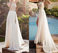 Wholesale Beaded Empire Waist Halter Dress - Julie Vino Halter Lace Top Sexy Backless Beach Prom Dresses Empire Waist A Line Beading Waist Split Evening Gown Boho Dress HY846
