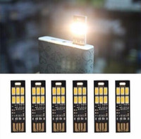 Wholesale Touch Dimmer China - New Arrive Mini Pocket Card USB Power 6 LED Keychain Night Light 1W 5V Touch Dimmer Warm Light for Power Bank Computer Laptop