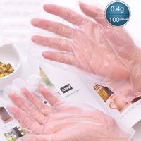 Wholesale Medical Disposable Gloves Wholesale - 1 Bag100 Pieces Disposable gloves PE material Anti-slip particles Food Beauty Transparent Medical health kitchen Safety gloves