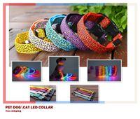 Wholesale Dog Training Led Light - Pet Dog LED Collar Glow Cat Collars Flashing Nylon Light Up Training Collar for dogs 6 Colors 3 Sizes Pet Supplies Dog Collars Free Shipping