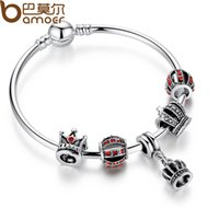 Wholesale Dropshipping Bracelet - BAMOER Simple Silver Charm Bangle & Bracelet with Royal Crown Pendant & Red Crystal Ball Dropshipping PA3067