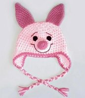 Wholesale Newborn Pig Hat - Crochet Pink Pig Hat Children Newborn Infant Toddler Knitted Hat Winter Boys Girls Kids Beanie Earflaps Hallowmas Christmas Caps 100% Cotton