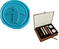 Wholesale Wax Seal Sticks Red - Penguin Vintage Rosewood Wax Seal Stamp Gift Set With Gold Red Silver Sticks