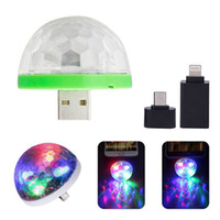 Wholesale 2PCS Mini USB Disco Stage Light Sound RGB Stage Lamp Magic music Light Club Party Lamp Laser Light