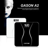 Wholesale Electronic Body Weight Scale - GASON A2 Bathroom Body Scales Glass Smart Household Electronic Digital Floor Weight Balance Bariatric LCD Display 180KG 50G