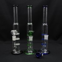 Wholesale Clear Glass Water Pipes - New Bong hot selling three honey comb perk Bongs water pipes Oil Rigs glass bongs in Green Blue and Clear Color For Slection