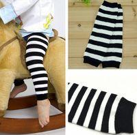 Wholesale Infant Black Leggings Wholesale - Cheapest ! Baby cotton Leg Warmer black white striped legwarmer infant good quality Tight leggings adult Arm warmers 60pairs lot