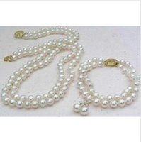 Wholesale Pearl Strand Necklace Earring Set - Perfect set of double strand 9-10mm Akoya white pearl necklace bracelet earring