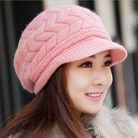 Wholesale Red Knit Hat Girls - 2016 New Arrival Elegant Women Knitted Hats Rabbit Fur Cap Autumn Winter Ladies Female Fashion Skullies Hat BA499