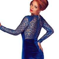 Wholesale Plunge V Neck - 2016 New Autumn Long Sleeve Sexy Plunge V Neck Tie-Front Lace With Sequin Ruched Bodycon Dress Blue