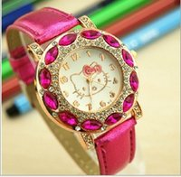Wholesale Without Dressed Girls - KT Cat leather watches Crystal design fashion Watches Women ladies quartz dress wrist watches casual students girl watch wholesale