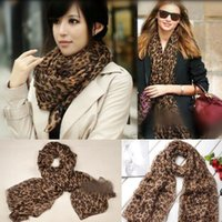 Wholesale Long Scarves Print - Long Leopard Shawl Scarf 150*48cm Chiffon U Shaped Leopard pring Autumn Scarf Wrap Printed Scarves OOA2967