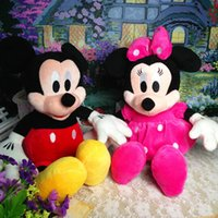 Wholesale Stuffed Minnie - Wholesale-2pcs lot 28cm Minnie and Mickey Mouse Super Classic Plush Doll Stuffed Animals Plush Toys for Children's Gift