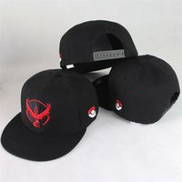 Wholesale Wholesale Snapbacks For Kids - Pokeball Cap Casual Poke Mon Embroidery Baseball Hat Instinct Valor Mystic Team Peaked Caps Snapbacks Hats for Adult and Kids