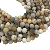 Wholesale Wholesale Strand Bamboo - Matte Bamboo Leaf Agate Beads, 8mm 10mm Round Beads,Wholesale Gemstone Beads,15.5inch,Full Strand ,Hole 1mm