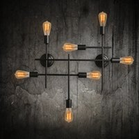Wholesale Cross Wall Light - Industrial retro style loft creative wall light American Bar restaurant cafe decorative cross pipe 6 heads wall lamp