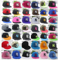 Wholesale Wholesale Snapback Fitted - 42 colors Yankees Hip Hop MLB Snapback Baseball Caps NY Hats MLB Unisex Sports New York Women casquette Men Casual headware