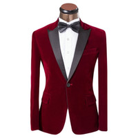 Wholesale Tuxedo Prom Single Button - 2016 new Lastest Coat Pant Design Men Suit Red And Blue Tuxedo Fashion Brand Men Slim Fit Wedding Prom Suits For Groom Size XS-6XL