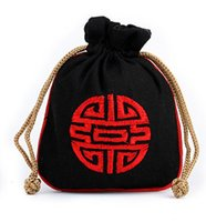 Wholesale Chinese Jewelry Bags Green - Embroidery Happy Cotton Linen Coin Purse Men Women Wallet Pouch Drawstring Pocket Chinese style Vintage Packaging Jewelry Candy Storage Bag