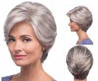 Wholesale Elderly Wigs - Xiu Zhi Mei Straight silver Grey short Wig side bangs fashion Heat Resistant synthetic gray hairstyles hair wigs for old Women Elderly Lady