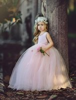 Wholesale Ball Gowm Wedding Dresses - Cute Blush Pink Ball Gowm Flower Girl Dresses For Weddings Unique Ruffles Back Sexy Sleeveless Lace Neck First Communion Dresses For Girls