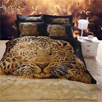 Wholesale Leopard Print Duvets - 2016 New Arrival 5D Oil Painting Cool Leopard Printed Queen Size 100% Egyptian Cotton Bedding Set Duvet Cover Set