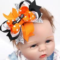Wholesale Hair Clip Ribbon Design - Cute Girls Halloween Hair Clip Pumpkin Hairpins Ribbon Bow Barrette Baby Boutique New Design Halloween Hair Accessories
