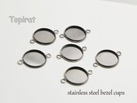 Wholesale Linked Bracelet Blank - 50pcs 2 links stainless steel bezel cups bezel pendant trays, double connector bracelet blank, choose the size