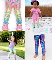 Wholesale Child Xmas - INS Baby Girls Unicorn Mermaid Scale Gradient Leggings tights xmas Kids Boys Fashion Glossy Scale Print Tights Children Long Pants 1-6Years