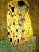 Wholesale Oil Painting Nude Art - Framed The Kiss,Genuine Handpainted Gustav Klimt Art Oil Painting On High Quality Canvas,Multi sizes Available Free Shipping