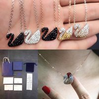Wholesale Black Swan Free - IN stock! 925 sterling silver jewelry necklaces & pendants for women swan pendant necklaces Brand design with full package free shopping