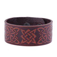 Vintage Design Religioso Slavic Knot Sigil Gothic Viking Cuff Wristband Adjustable Double-Clasp Men's Leather Bracelet Jóias