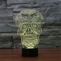 Wholesale Skeleton Table - Skeleton Bones 7 Color Changing Decor Table Lamp Visual Illusion LED Lighting Lamp Kids Toy Christmas Gifts Night Light-3D-TD177
