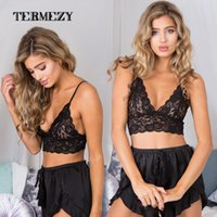 Wholesale White Lace Bralet - Lace Unlined Bralette Triangle Cups Bra Fashion Cutout Brassiere Cute Wireless Bralet Sexy Underwear Intimate