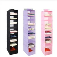 Wholesale Plastic Living Room Storage - 9 Cell Hanging Storage Box Clothing Shoe Storage Box Sorting Clothing Closet Shoe Door Wall Organizer KKA2297