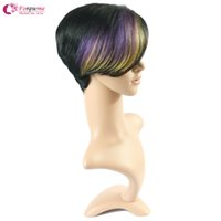 "Wholesale Cheap Brazilian Remy Blonde Hair - 8"" Cheap Short Human Hair Wigs blonde brown red black purple Remy Brazilian Hair Glueless Wig None Lace Machine Made Straight Wig For Women"