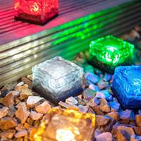 под открытым небом оптовых-Новый светодиодный подземный похоронен лампа палуба IP68 путь света, белый синий RGB Солнечный кирпич кубик льда путь утопленные светодиодные торшеры открытый водонепроницаемый