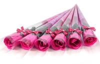 ingrosso petali di rosa rossa artificiali-100 pz Spedizione Gratuita Artificiale Fiore Rosa Rossa Diamante Singolo Confezione Bagno Corpo Rosa Petalo fiore Bomboniere Regali Di Compleanno 5 Colori