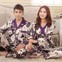 Wholesale Summer Lovers Sleepwear - Wholesale- 2017 Spring Summer Autumn Silk Family Pyjamas Sets of Sleepcoat & Sleep Shorts Couple Sleepwear Lover Nightdress & Home Clothing