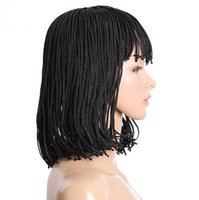 Wholesale Bob Boxing - Free Shipping Shot Bob Straight Black Color Micro Box Braided Wigs Synthetic Hair Wigs Joy &luck