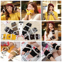 Wholesale fall fashion gloves - Autumn Winter Buttons Lace Mittens Half Finger Women Gloves Knitted Warmer Ladies Knitted Fingerless Gloves 2pcs pair CCA7606 200pair