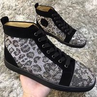 Leopard Rhinestone High Top Sneakers Sapatos para mulheres, homens Red Bottom Shoes Diamond Party Dress Leisure Flats Tamanho de transporte livre 35-46