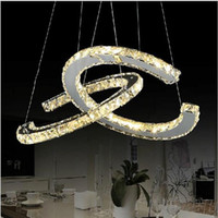 Wholesale Modern Pendent Lights - New Arrival Diamond Crystal LED Pendant Light Round Circle Dinging pendent Lamp Modern AC110-240V for living room bay coffee room decoration